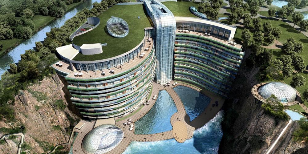 充滿黑科技的酒店:中國深坑酒店